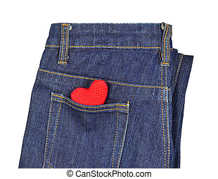 Blue jeans back pocket with red crochet heart - Blue jeans...