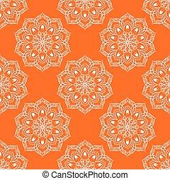 Vector Seamless Mandala Pattern over orange