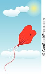 Balloon Love Deflate. Art Illustration Vector - Balloon Love...