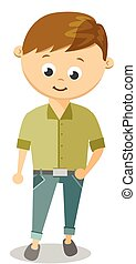 Funny Cartoon Guy With In White Shirt and Black Pants....