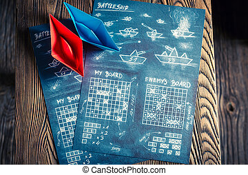 Children's battleship paper game for two players