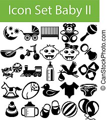 Icon Set Baby II with 25 icons for the creative use in...