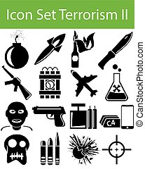 Icon Set Terrorism II with 16 icons for the creative use in...
