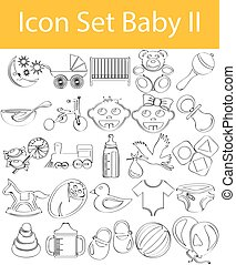 Drawn Doodle Lined Icon Set Baby II with 25 icons for the...