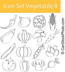 Drawn Doodle Lined Icon Set Vegetable II with 16 icons for...