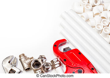 Plumbing tools supplies background - Plumbing tool pipes and...