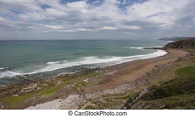 Beach Azkorri or Gorrondatxe view, Spain. - Atlantic ocean...