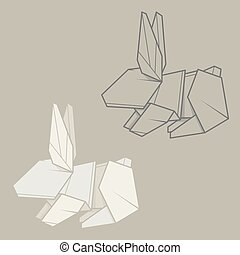 Set illustration paper origami of rabbit. - Set vector...