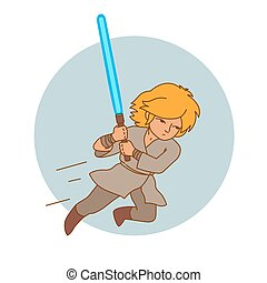 jumping attack warrior character with light sword, vector...