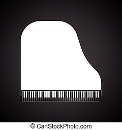 Grand piano icon. Black background with white. Vector...