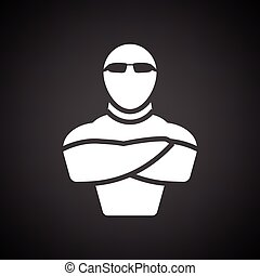 Night club security icon. Black background with white....
