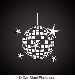 Night clubs disco sphere icon. Black background with white....