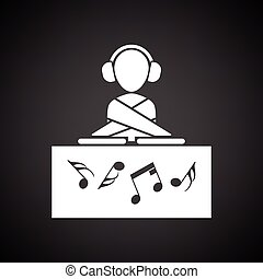 Night club DJ icon. Black background with white. Vector...