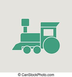 Train toy ico. Gray background with green. Vector...