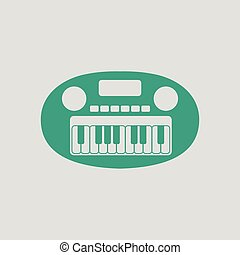 Synthesizer toy ico. Gray background with green. Vector...
