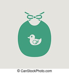 Bib ico. Gray background with green. Vector illustration.