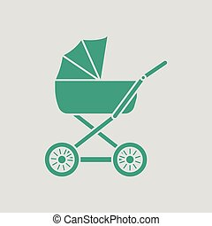 Pram ico. Gray background with green. Vector illustration.