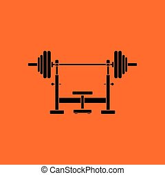 Bench with barbel icon. Orange background with black. Vector...