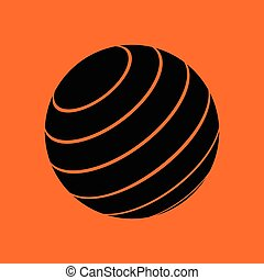 Fitness rubber ball icon. Orange background with black....