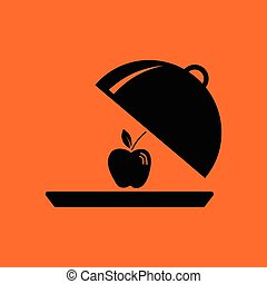 Apple inside cloche icon. Orange background with black....