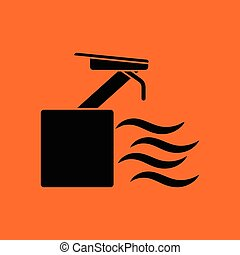 Diving stand icon. Orange background with black. Vector...
