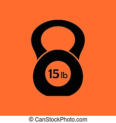 Kettlebell icon. Orange background with black. Vector...