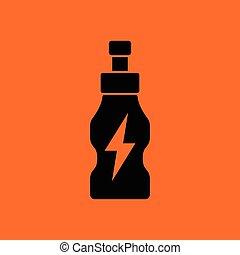 Energy drinks bottle icon. Orange background with black....