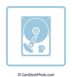 HDD icon. Blue frame design. Vector illustration.