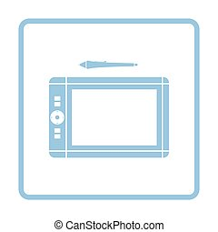 Graphic tablet icon. Blue frame design. Vector illustration.