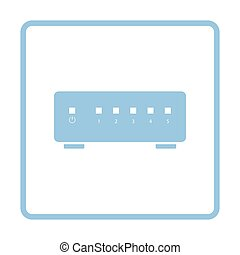Ethernet switch icon. Blue frame design. Vector...