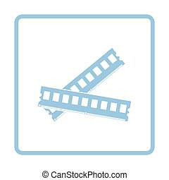 Computer memory icon. Blue frame design. Vector...