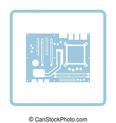 Motherboard icon. Blue frame design. Vector illustration.