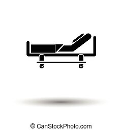 Hospital bed icon. White background with shadow design....