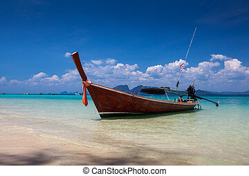Boat on the sea in Trang Southern of Thailand