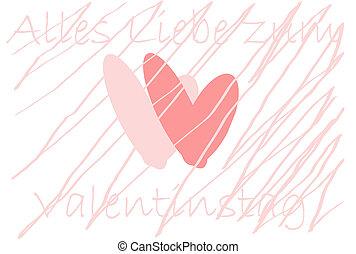 cœurs, deux, petite amie, jour