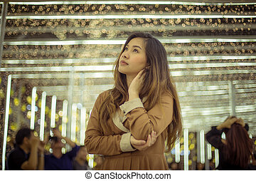 Portrait of asian woman, outdoor in night