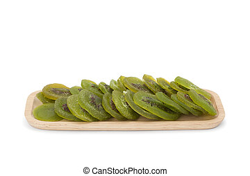 kiwi dried fruit in woodenware isolated on white background...