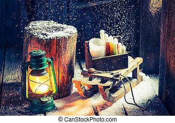 hiver, neigeux, bois, hutte, traîneau, petit