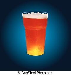 frosty glass of beer, vector illustration