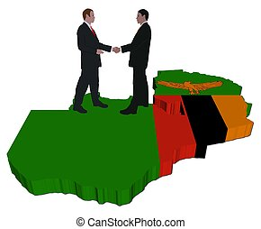 Business people on Zambia map flag