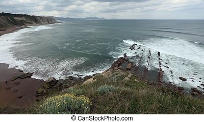 Beach Azkorri or Gorrondatxe view. - Atlantic ocean...
