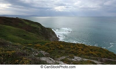 Summer ocean coastline view (Spain). - Summer blossoming...