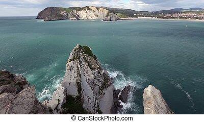 Summer ocean rocky coast (Spain). - Summer ocean rocky...