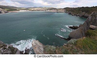 Summer Gorliz town coastline (Spain). - Summer evening ocean...