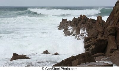 Atlantic Ocean storm. - Atlantic Ocean storm and rocky coast...