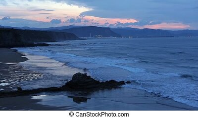 Twilight ocean coast view. - Twilight Atlantic Ocean rocky...