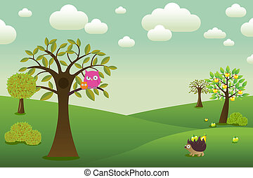 Cartoon Landscape - Fantastic Landscape With Owls, Hedgehog...
