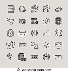 Outline vector icons - casino, gambling, poker game