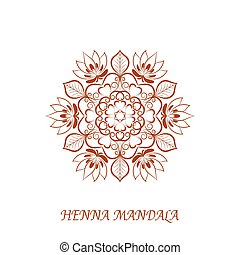 Vector Henna Color Mandala over white - Vector Henna Color...