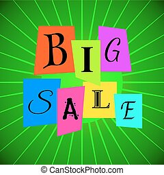 Vector Big Sale Words from Color Paper over Green Rays